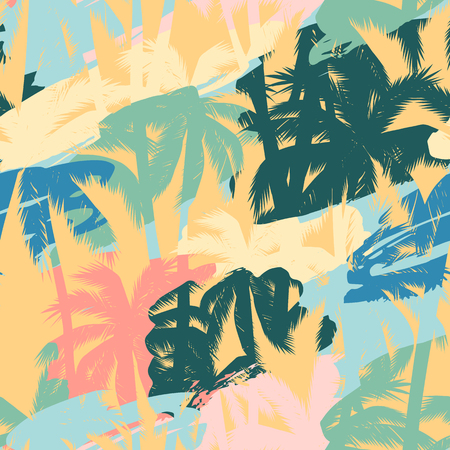 Seamless exotic pattern with tropical plants and artistic background