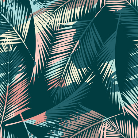 Seamless exotic pattern with tropical plants and artistic background. Stok Fotoğraf - 96391665