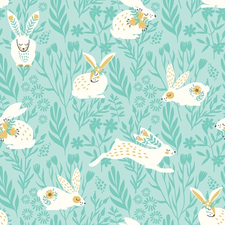 Vector seamless pattern with bunnies for Easter.