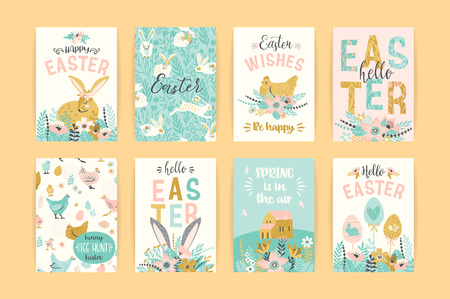 Happy Easter. Vector templates for card, poster, flyer and other design.