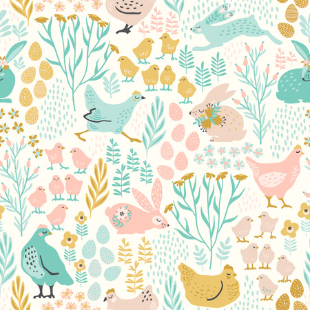 A Vector seamless pattern with bunnies and chicken for Easter and other users.