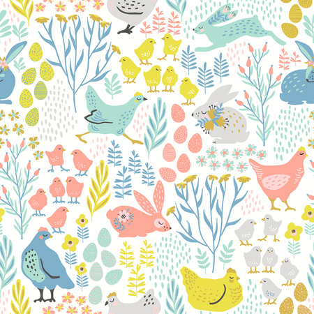Vector seamless pattern with bunnies and chicken for Easter and other users