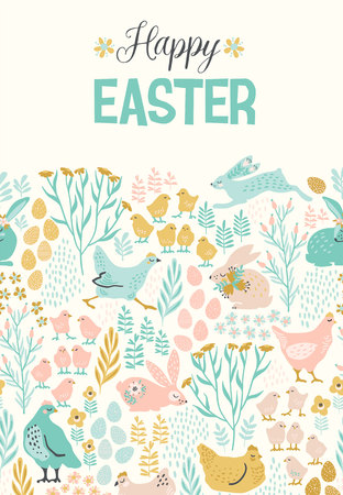 Happy Easter vector templates for card, poster and other users.