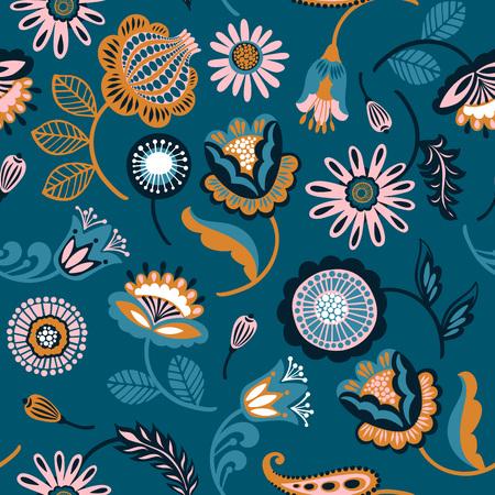 Folk floral seamless pattern. Modern abstract design