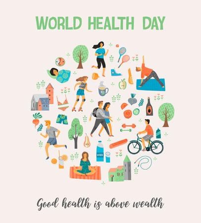 Concept de mode de vie sain de la santé de la santé avec des gens exerçant sur fond de couleur. illustration vectorielle Banque d'images - 98013230
