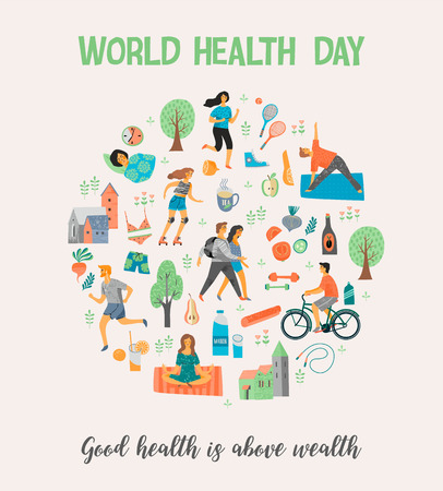 World Health Day Healthy lifestyle concept with people exercising on color background. Vector illustration. Stock Illustratie
