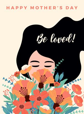 Feliz día de la madre. Ilustración de vector con mujer y flores. Elemento de diseño para tarjeta, póster, pancarta y otros usos. Ilustración de vector