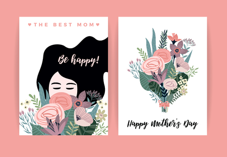 Happy Mothers Day. Vector illustration with woman and flowers. Design element for card, poster, banner, and other use.