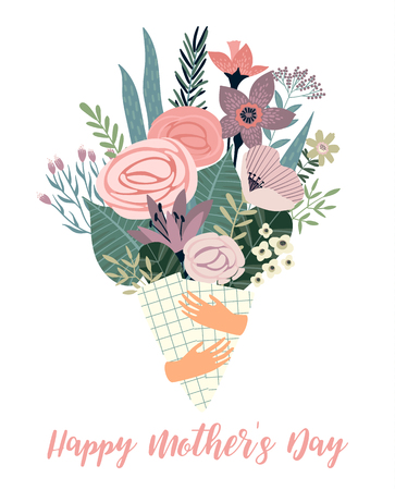 Happy Mothers Day Vector template with flowers. Design element for card, poster, banner, and other use.