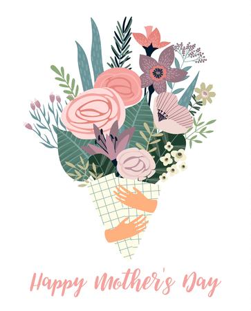 Modèle de vecteur de fête des mères heureux avec des fleurs. Élément de conception pour carte, affiche, bannière et autre utilisation.