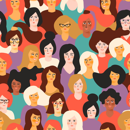 Girl power. Vector seamless pattern with women faces.