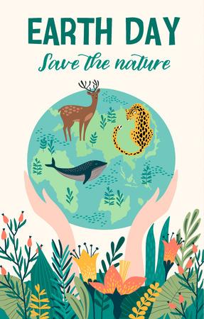 Jour de la Terre avec des animaux. Modèle vectoriel pour carte, affiche, bannière, élément de conception de flyer Vecteurs