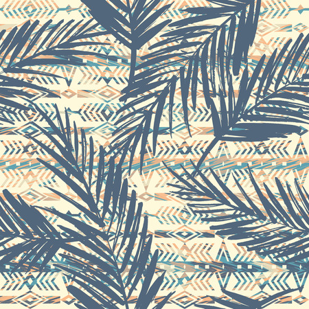 Tribal ethnic seamless pattern with palm leaves. Vectores