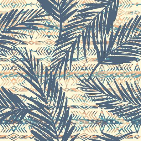 Plemienny wzór bezszwowe etniczne z liści palmowych.