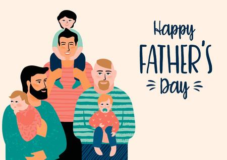 幸せな父親の日。男性と子供を使ったベクターイラスト。 写真素材 - 100521081