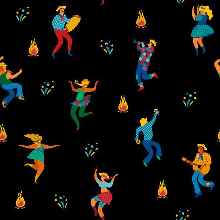 Festa Junina. Vector seamless pattern.