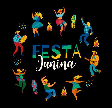 Festa Junina. Vector template. 向量圖像