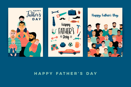 Happy Fathers Day. Vector templates.