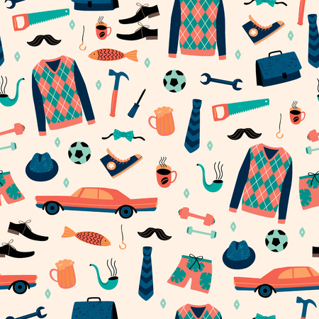 Vector seamless pattern with mans things. Happy Fathers Day concept. Çizim