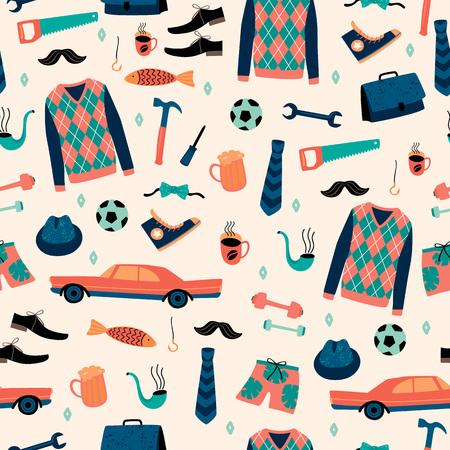 Vektor nahtloses Muster mit mans Dingen. Glückliches Vatertagskonzept. Vektorgrafik