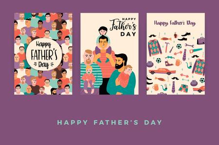 快乐的父亲节。向量模板。