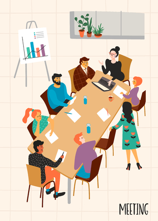 Business meeting. Vectpr illustration with characters. Vectores