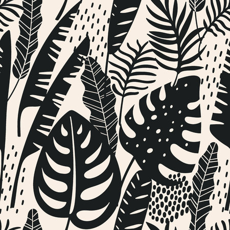 Abstract seamless pattern with tropical leaves. Illusztráció
