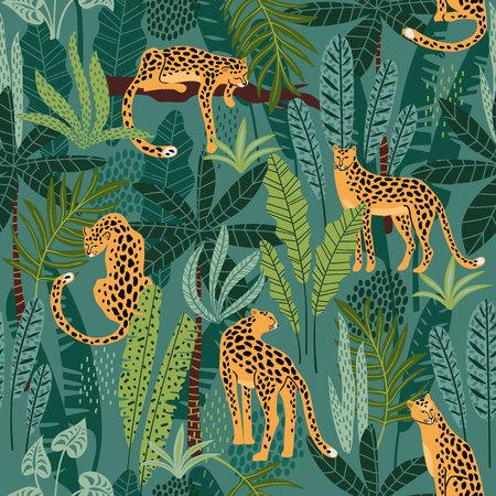 Modèle sans couture de Vestor avec des léopards et des feuilles tropicales. Banque d'images - 102561619
