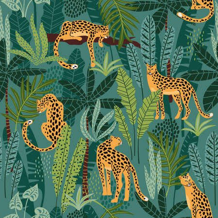 Vestor seamless pattern with leopards and tropical leaves. Ilustração