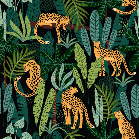 Vestor seamless pattern with leopards and tropical leaves. Foto de archivo