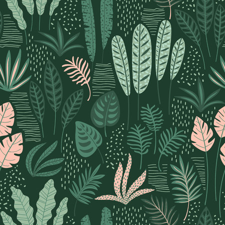 Abstract seamless pattern with tropical leaves. Hand draw texture. Stok Fotoğraf - 102561651