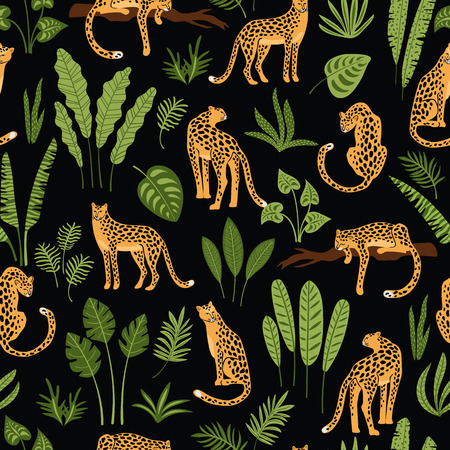 Vestor seamless pattern with leopards and tropical leaves. Trendy style.