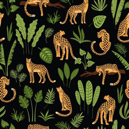 Vestor nahtloses Muster mit Leoparden und tropischen Blättern. Trendiger Stil.