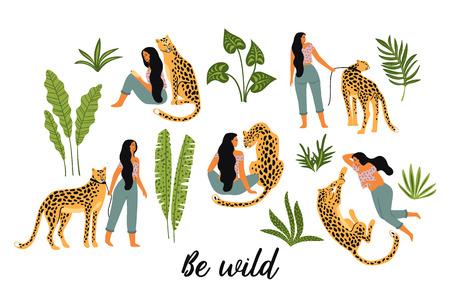Se salvaje. Ilustraciones vectoriales de mujer con leopardo y hojas tropicales.