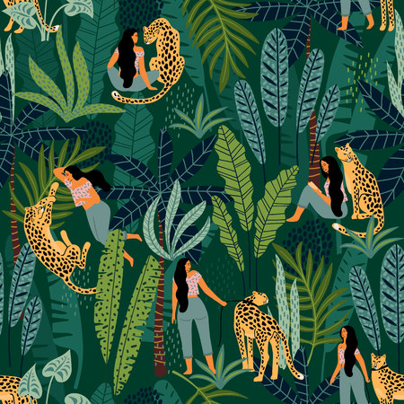 Vector seamless pattern with women, leopards and tropical leaves. Trendy design for paper, cover, fabric and other users. Ilustracja