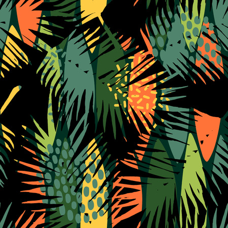 Abstract seamless pattern with tropical leaves. Vektorové ilustrace