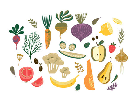 Vector illustration of vegetables and fruit.