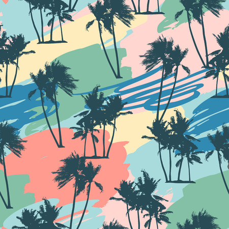 Seamless tropical pattern with palms and artistic background.