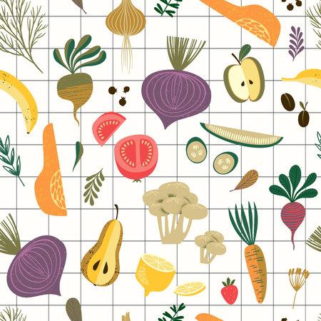 Modèle sans couture de vecteur avec légumes et fruits.