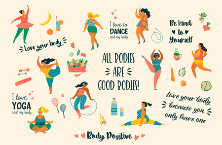 Body positive. Happy plus size girls and active healthy lifestyle. Vector illustration. 일러스트