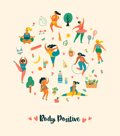 Body positive. Happy plus size girls and active healthy lifestyle. Vector illustration. Illustration
