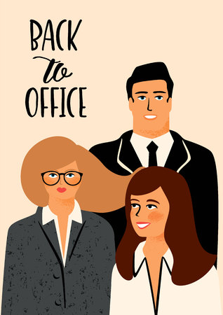 Back to office. Vectior illustration with office workers.