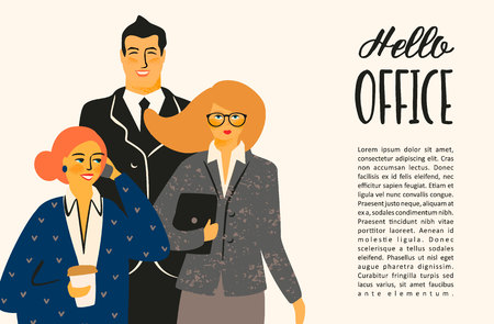 Hello office. Vectior illustration with office workers. Design template. Illustration