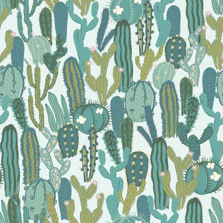선인장과 벡터 완벽 한 패턴입니다. 녹색 선인장으로 텍스처를 반복합니다. 자연 손 사막 식물 배경 그리기.
