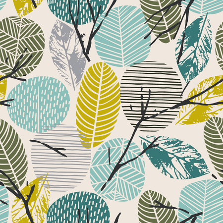 Abstract autumn seamless pattern with trees. Vector background for various surface. Trendy hand drawn textures. Illustration