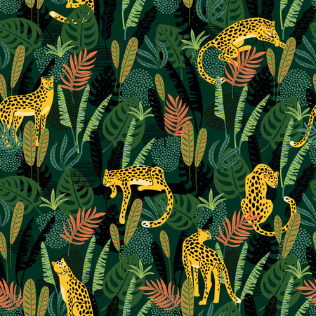 Vestor seamless pattern with leopards and tropical leaves. Illustration