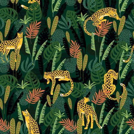 Vestor nahtloses Muster mit Leoparden und tropischen Blättern. Vektorgrafik