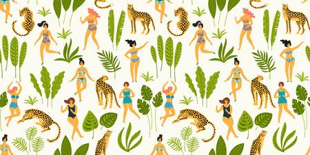 Modèle sans couture de vecteur avec des ladyes dansantes en maillots de bain et léopards. Élément de design pour le concept de fête d'été et autre utilisation. Banque d'images - 107254225