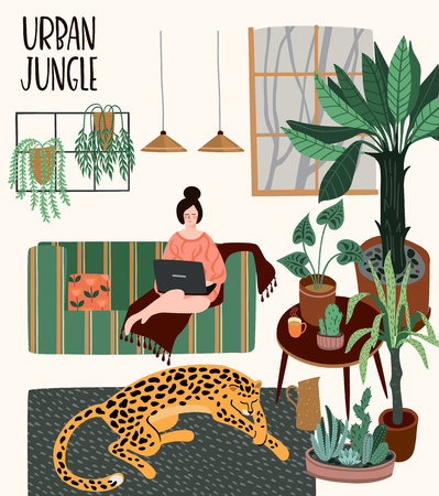Urban Jungle. Vector illustration with trendy home decor. Houseplants, tropical leaves, leopard 向量圖像
