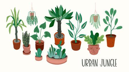 Großstadt-Dschungel. Vektorillustration mit trendiger Wohnkultur. Zimmerpflanzen, tropische Blätter. Vektorgrafik